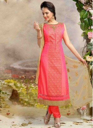 Readymade Pink Colour Silk Churidar Suit