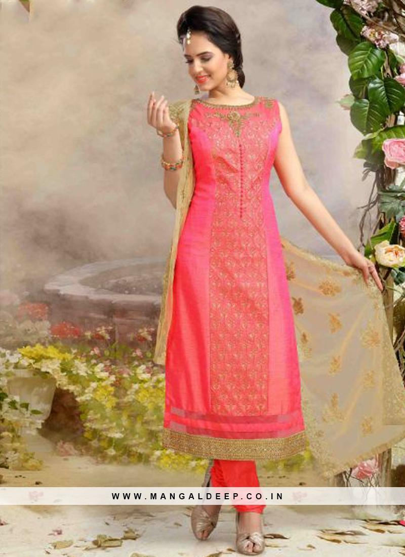 Readymade Pink Colour Silk Churidar Suit