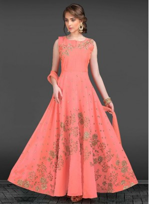 Readymade Pink Embroidered Anarkali Suit