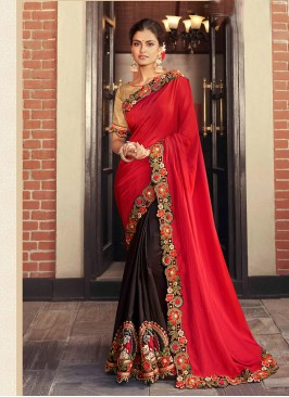 Red And Brown Color Half And Half Saree