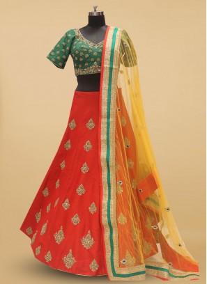 Red And Green Bridal Silk Lehenga