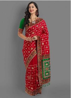 Red And Green Color Gujarati Panetar Saree