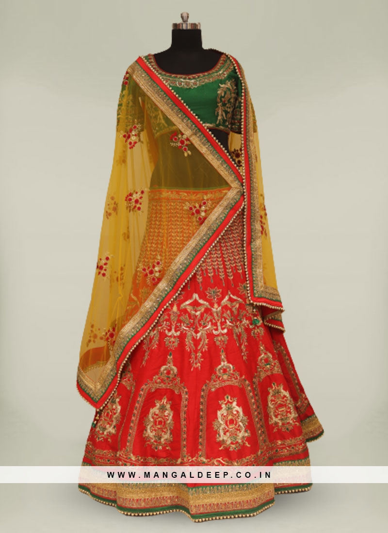 Red And Green Silk Readymade Bride Lehenga