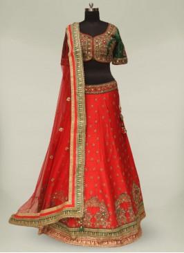 Red And Green Silk Readymade Wedding Lehenga