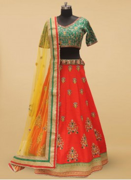 Red And Green Silk Wedding Wear Lehenga