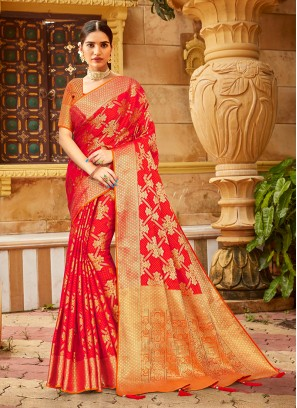 Red And Orange Color Party Wear Silk Saree
