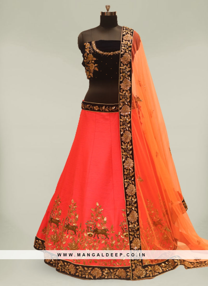 Red And Orange Color Silk Lehenga For Bridal