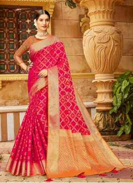 Red And Pink Color Gorgeous Saree
