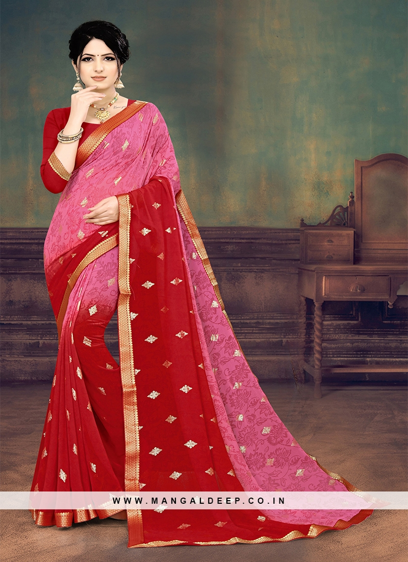 Red And Pink Color Printed Saree