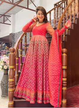 Red And Pink Digital Printed Floor Length Gown