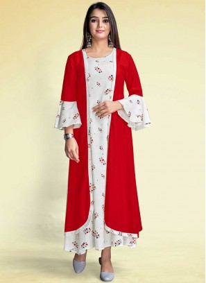 Red And White Color Rayon Kurti