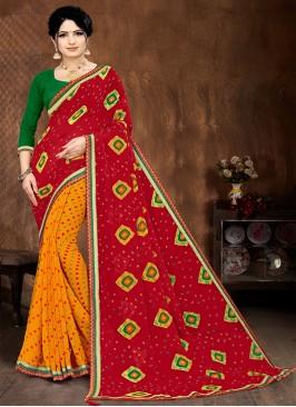 Red And Yellow Color Bandhani Saree
