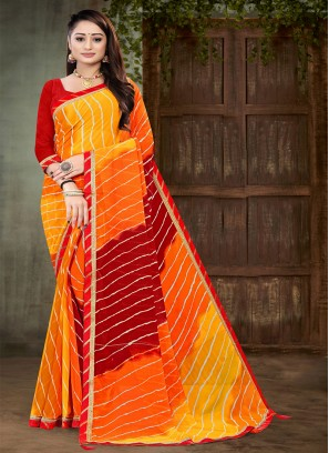 Red And Yellow Color Georgette Saree