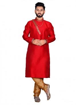 Red Classic Simple Indian Kurta Set