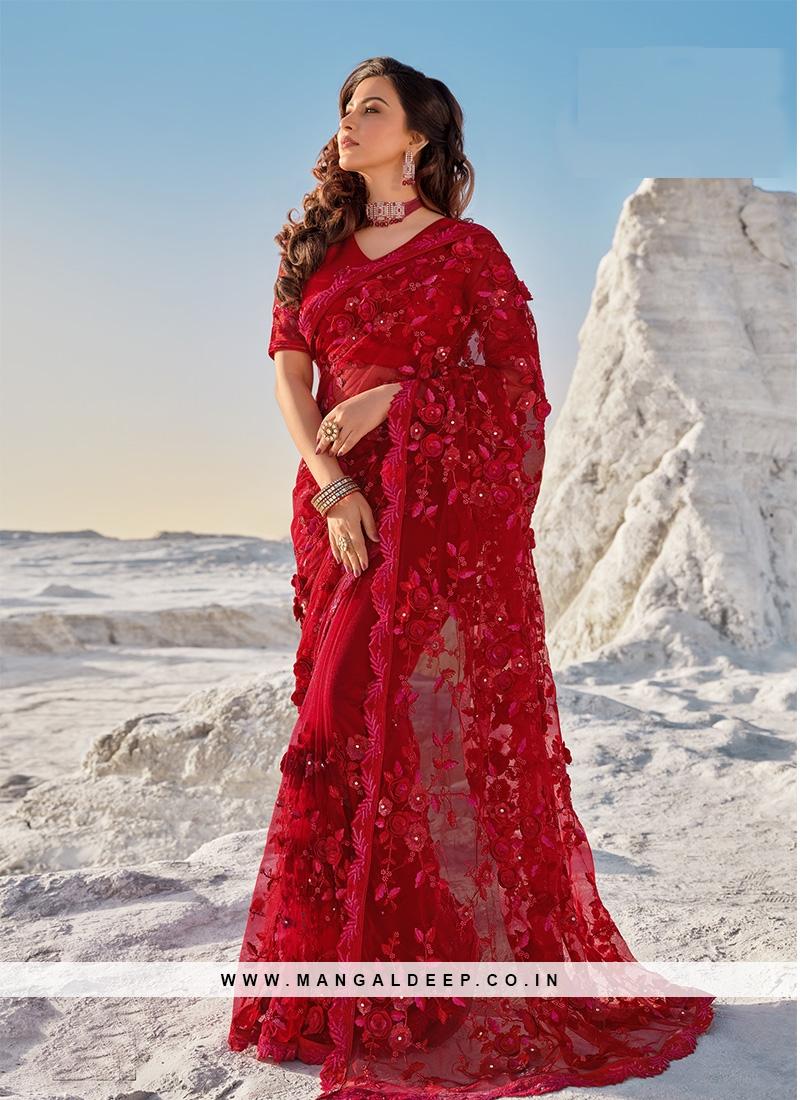 Red Color Applique Flower Net Saree