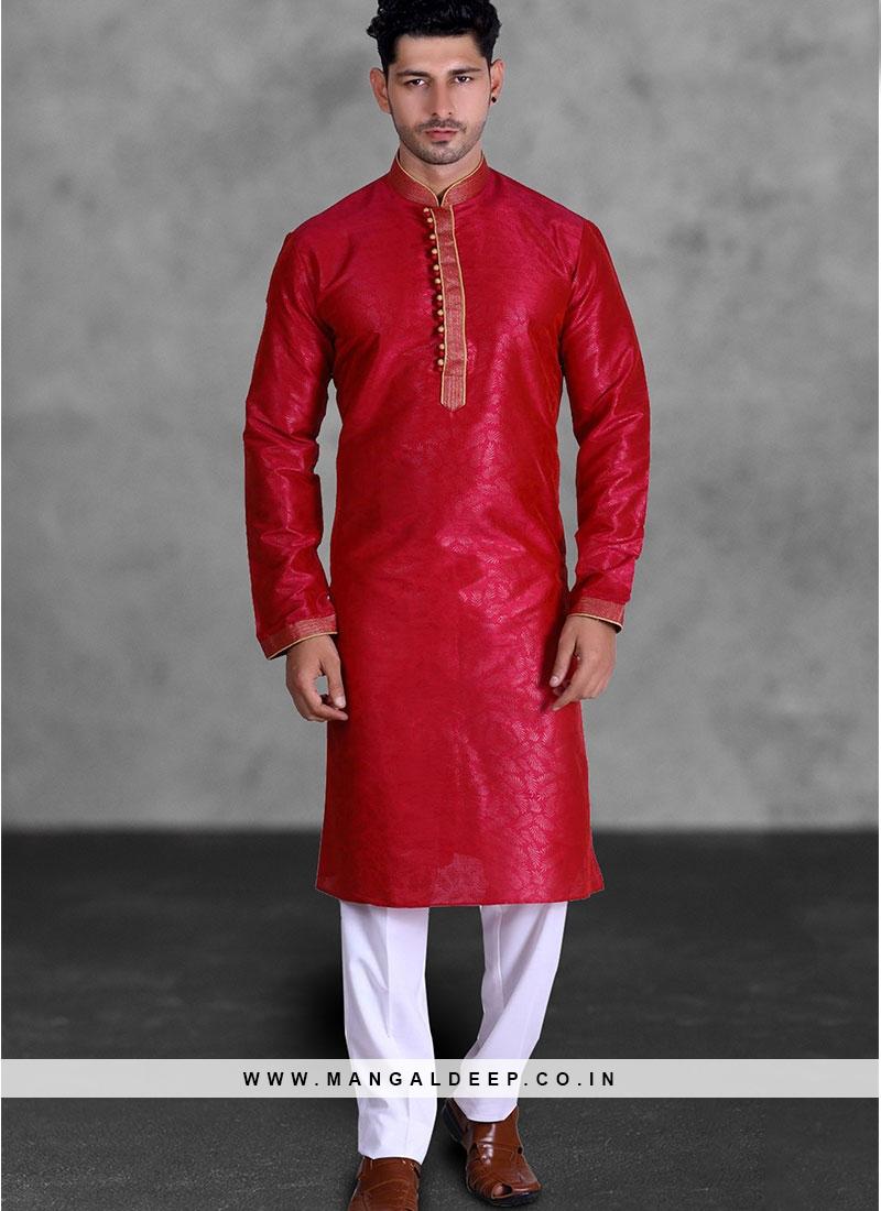Red Color Art Silk Festive Wear Kurta Pajama