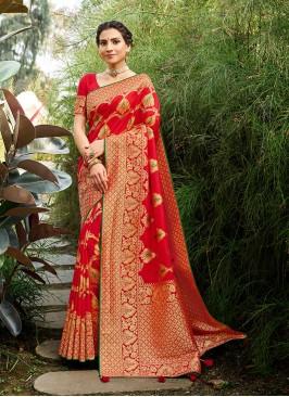 Red Color Banarasi Silk Fancy Saree