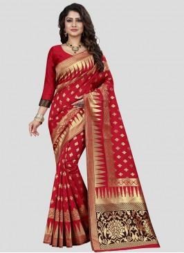 Red Color Banarasi Silk Saree Bridal