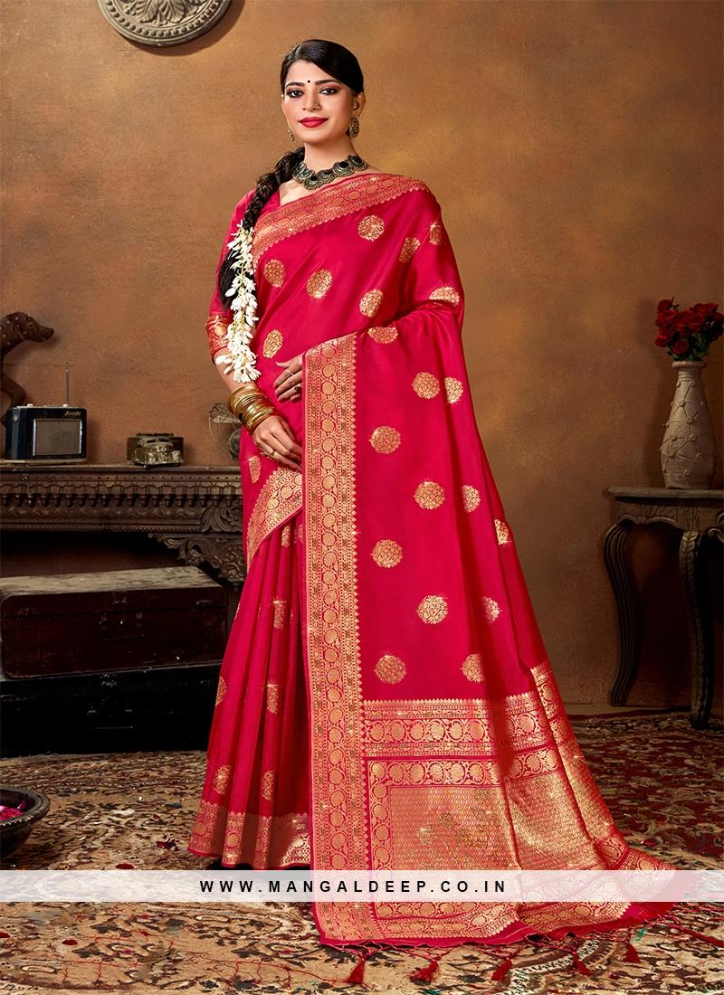 Red Color Banarasi Traditional Saree