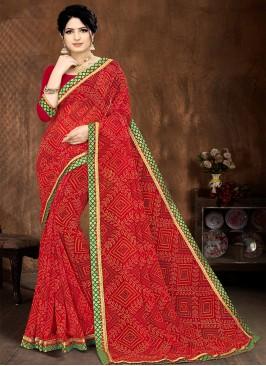 Red Color Bandhani Print Georgette Saree