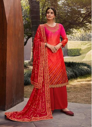 Red Color Bandhani Print Salwar Suit