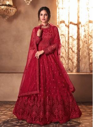 Red Color Butterfly Net Anarkali Suit