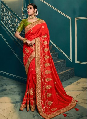 Red Color Chiffon Party Wear Saree