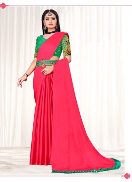 Red Color Chiffon Saree With Belt