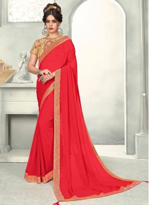 Red Color Chiffon Saree With Unstitched Blouse