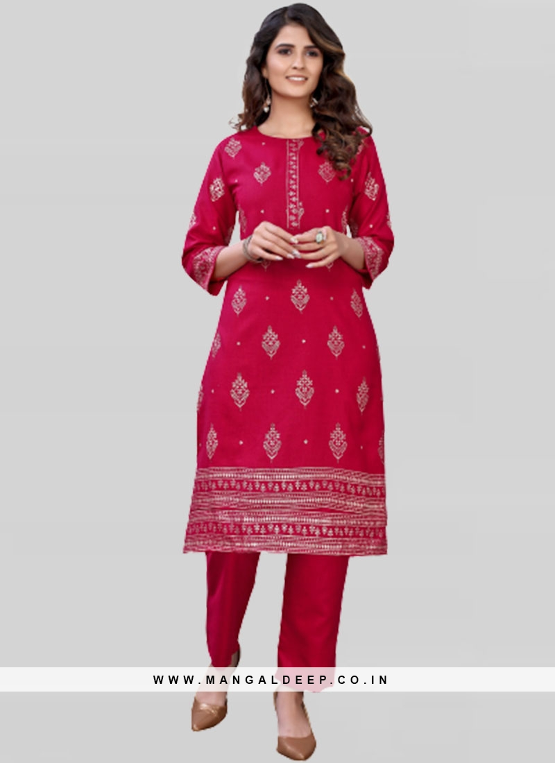 Red Color Cotton Kurta Pant