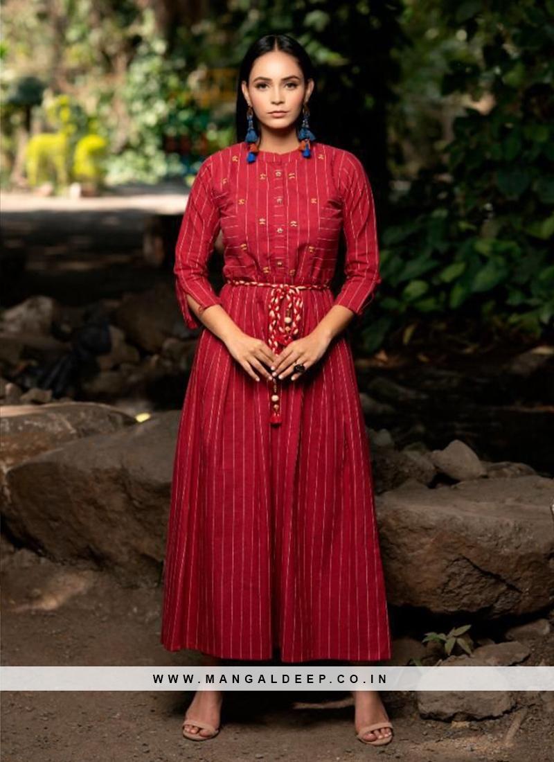 Red Color Cotton Latest Design Kurti