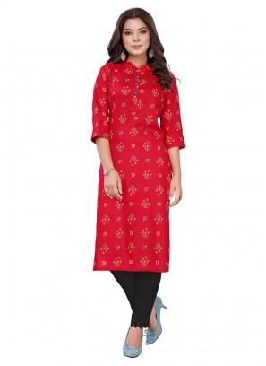 Red Color Cotton Printed Kurti