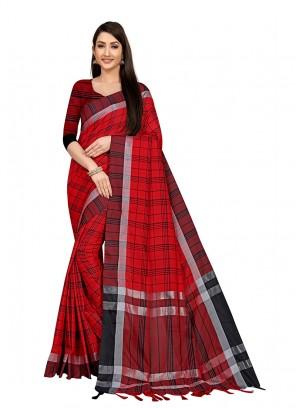 Red Color Cotton Silk Casual Wear Saree