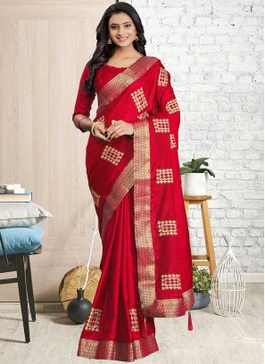 Red Color Cotton Silk Saree For Girls