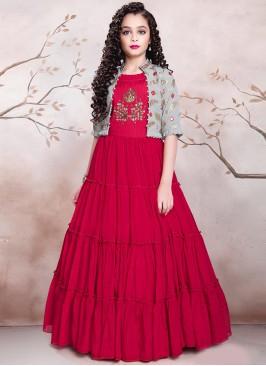 Red Color Designer Gown For Kids