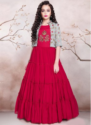 Red Color Designer Gown For Kids