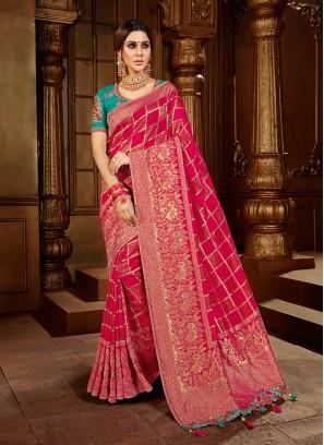 Red Color Dola Silk Bridal Wear Saree