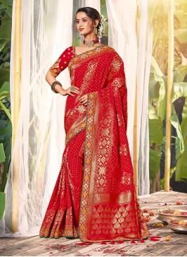 Red Color Dola Silk Designer Saree