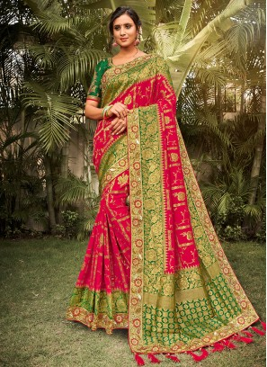Red Color Dola Silk Saree For Wedding