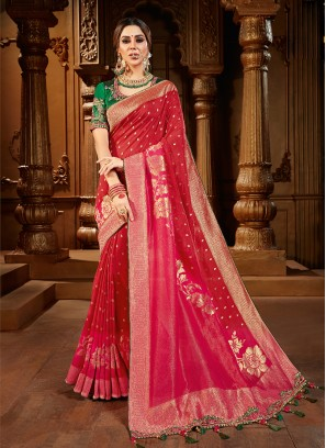 Red Color Dola Silk Saree With Work Blouse