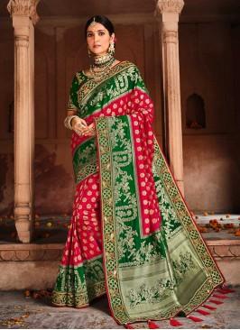 Red Color Dolla Silk Weaving Saree