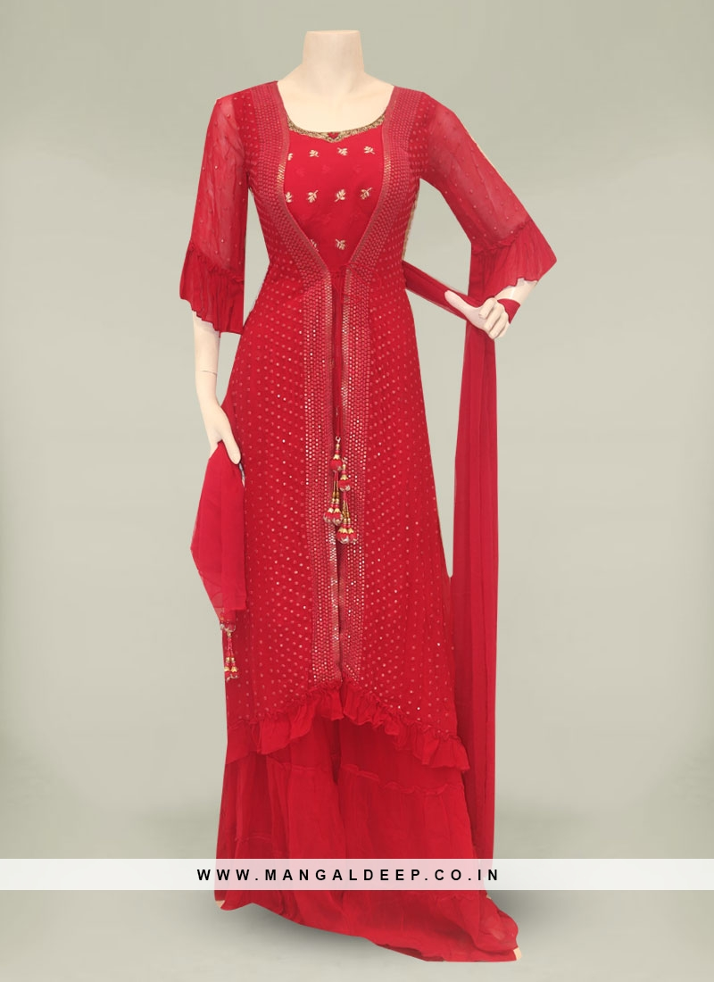 Red Color Embroidered Georgette Plazo Dress