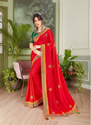 Red Color Embroidered Saree For Girl