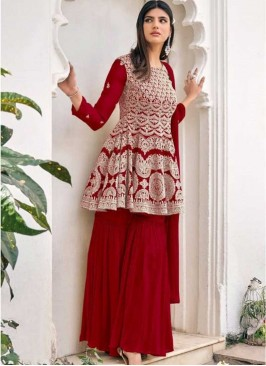 Red Color Embroidered Sharara