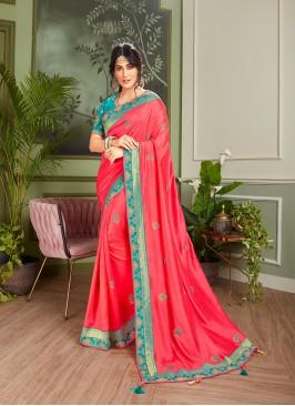 Red Color Fancy Fabric Designer Saree