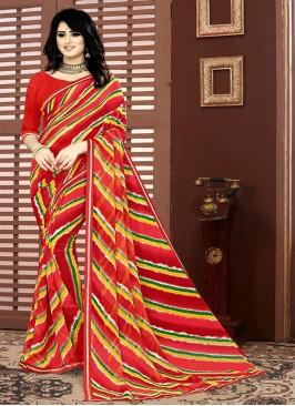 Red Color Georgette Leheriya Saree