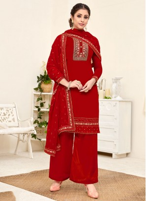 Red Color Georgette Pakistani Palazzo Suit