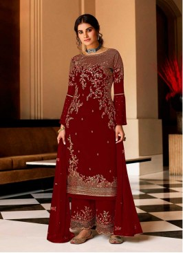 Red Color Georgette Palazzo Suit