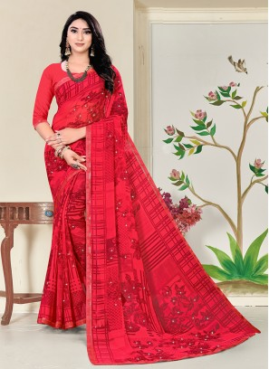 Red Color Georgette Printed Saree