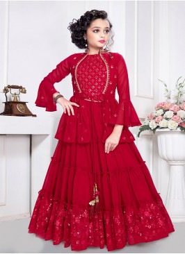 Red Color Georgette Sequins Work Girls Kurti Set
